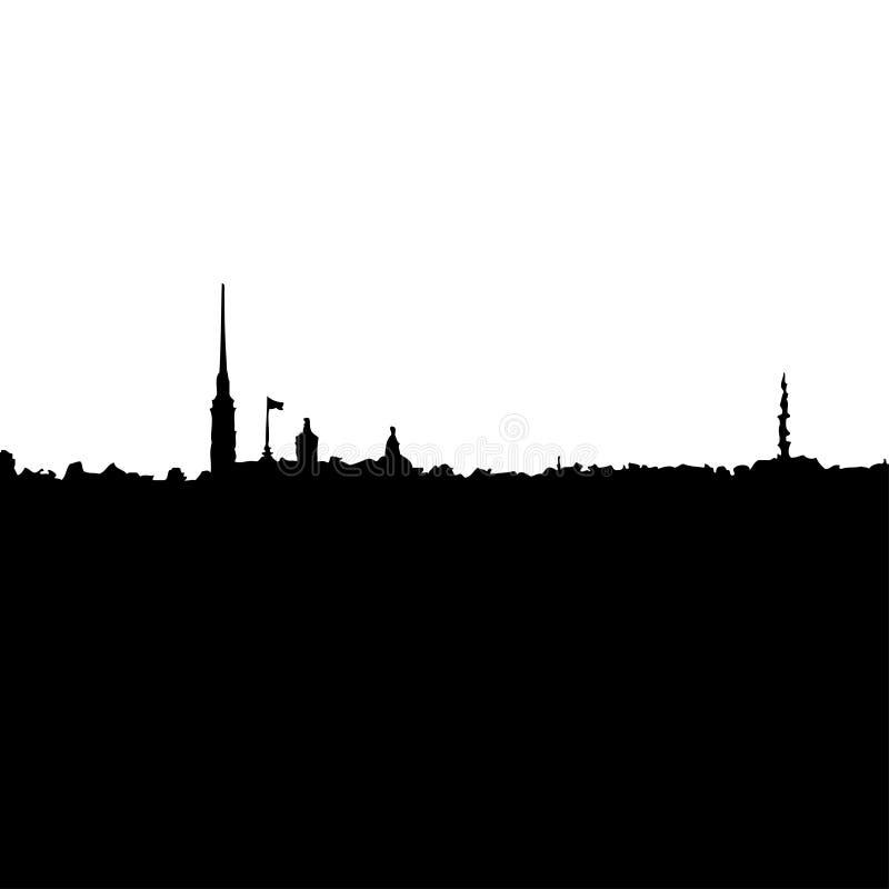 Vector Silhouette of City Buildings. Saint-Petersburg City stock illustration