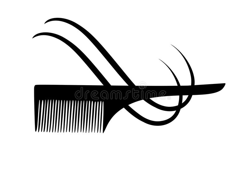 Vector silhouette of comb and hair. NVector silhouette of scissors and a comb . Vector icon scissors , a comb , a strand of hair for hairdressers and beauty royalty free illustration