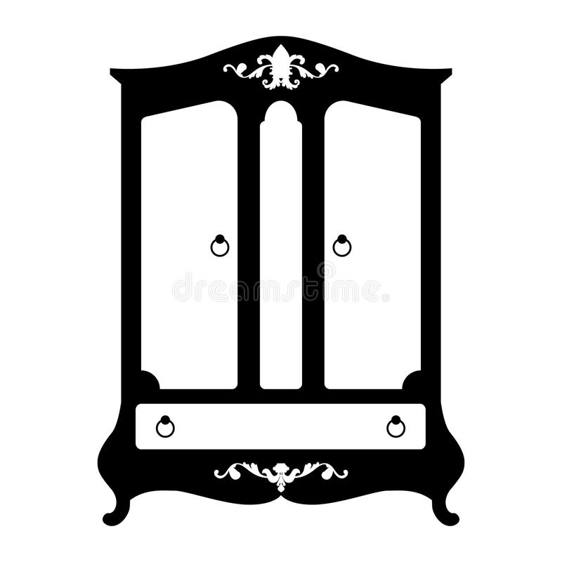 Vector silhouette of cupboard. Vector illustration of silhouette of retro cupboard in baroque style isolated on white background royalty free illustration