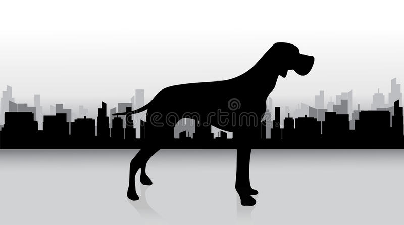 Vector silhouette of dog. royalty free illustration