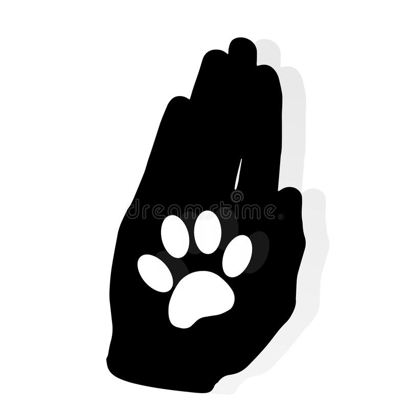 Vector silhouette dog paw. vector illustration