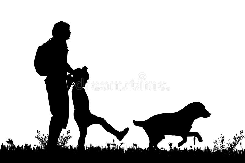 Vector silhouette of the family. Vector silhouette of the family with dog for a walk royalty free illustration