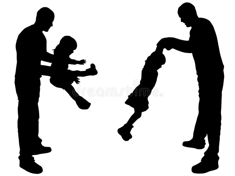 download vector silhouette of father and daughter stock vector image 47631901