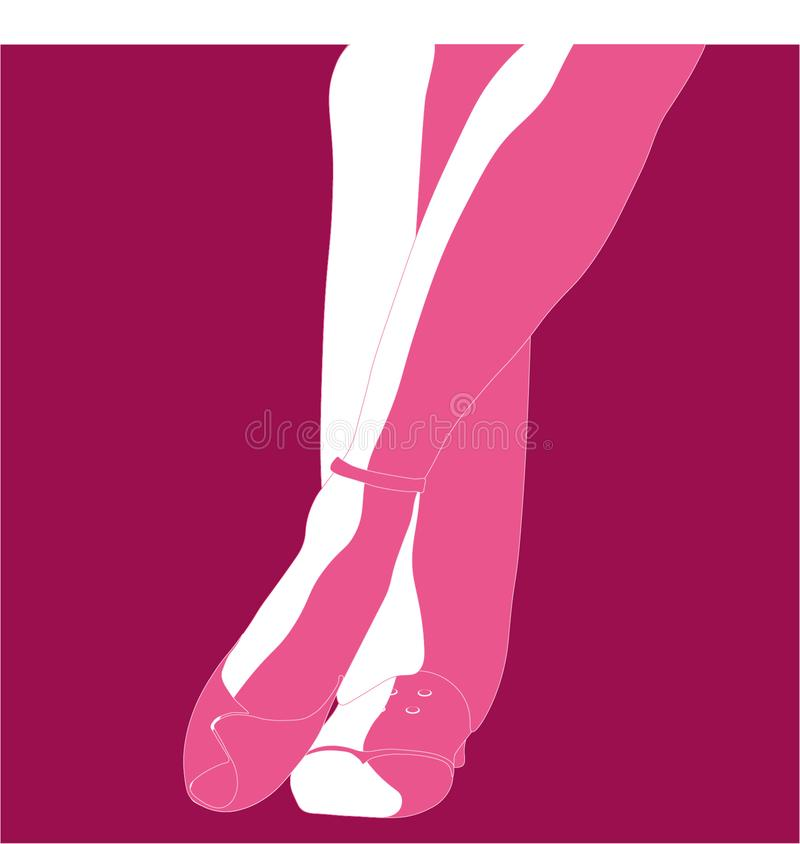 Vector silhouette of the feet of a cople tango dancers vector illustration