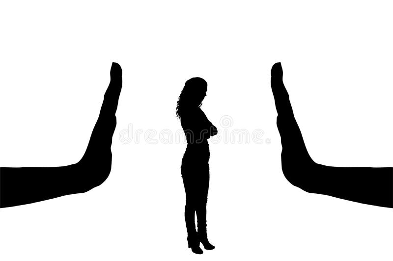 Vector silhouette of a female worker and gesture of a big hand stop vector illustration