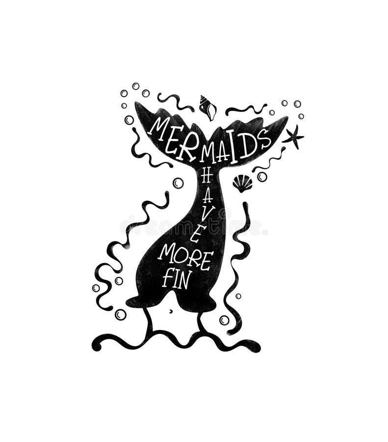 Mermaid black stencil.Silhouette of mermaid tail. vector illustration