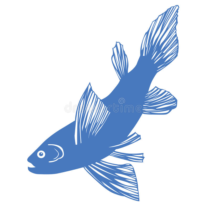 Vector Silhouette Of Fish Royalty Free Stock Photography