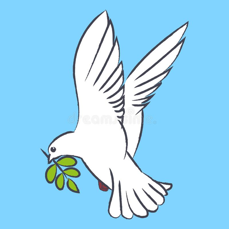 Vector silhouette of a flying dove with olive branch on a blue background royalty free illustration