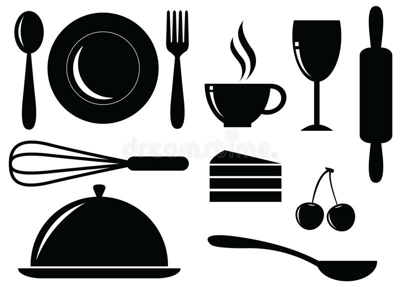 Vector Silhouette Of Food,drink,bakery And Coffee Royalty Free Stock Photo