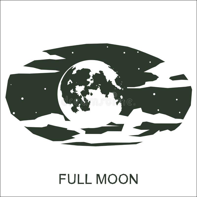 Vector silhouette full moon vector illustration