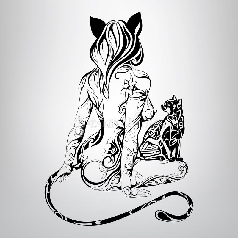 Vector silhouette of girl cat with a black cat in the ornament royalty free illustration