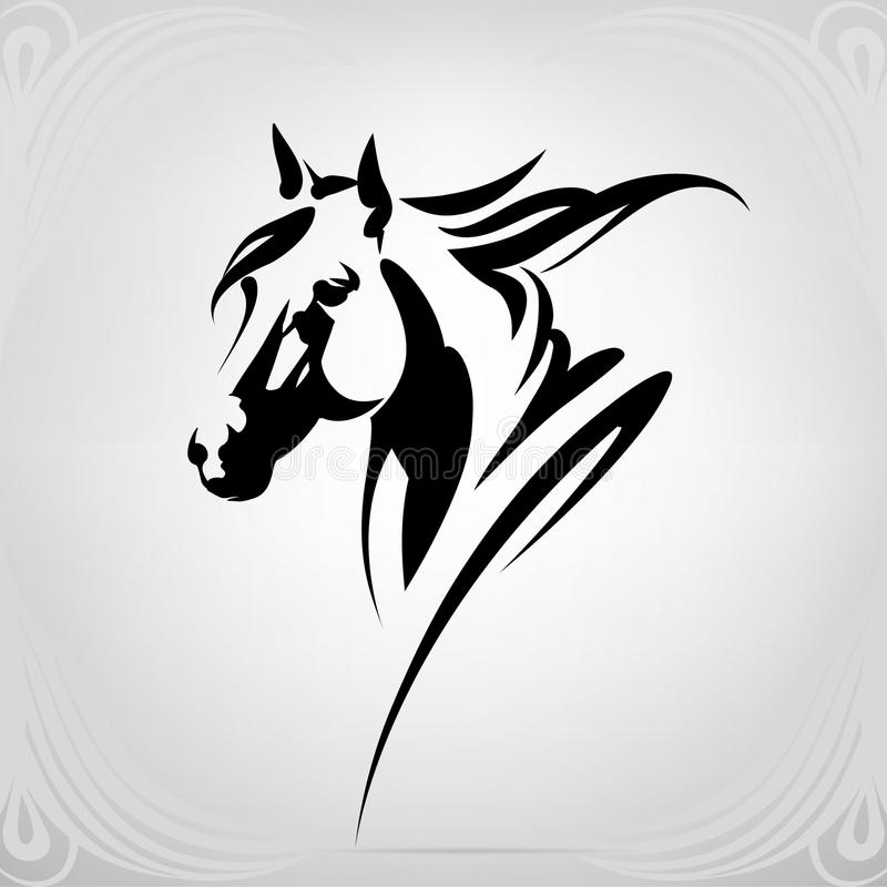 Vector silhouette of a horse`s head. Silhouette of a horse`s head against a gray background