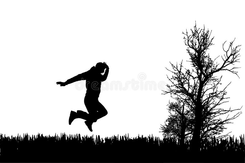 Vector silhouette of jump. stock illustration
