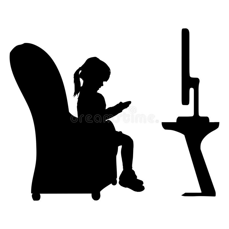 Vector silhouette of a little girl. stock illustration