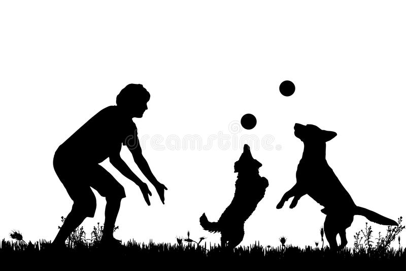 Vector silhouette of a man with a dog. Vector silhouette of a man with a dog on a meadow stock illustration