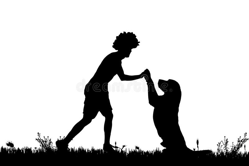 Vector silhouette of a man with a dog. Vector silhouette of a man with a dog on a meadow royalty free illustration