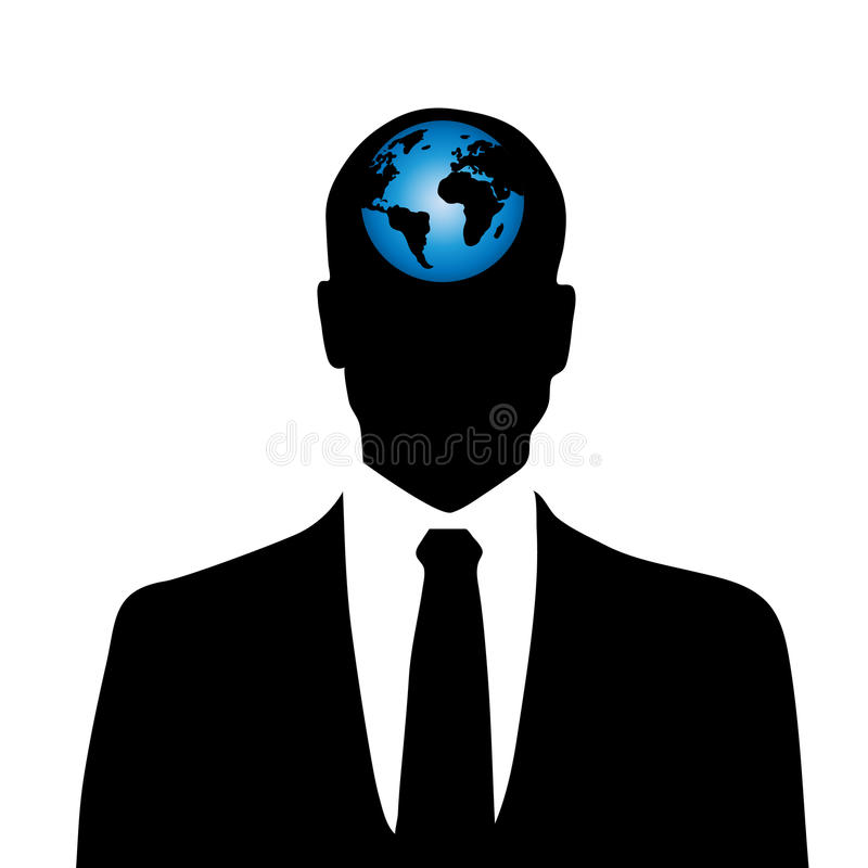 Vector silhouette of man with globe. Vector silhouette of man with globe inside head vector illustration
