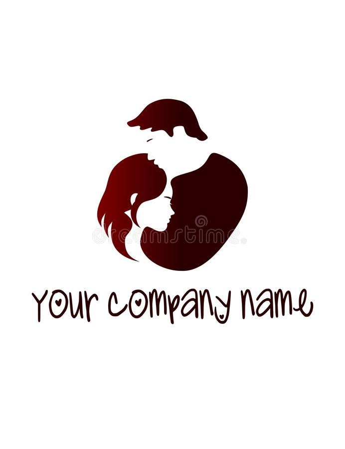 Vector silhouette of a man hugging a woman in the shape of a heart. stock illustration