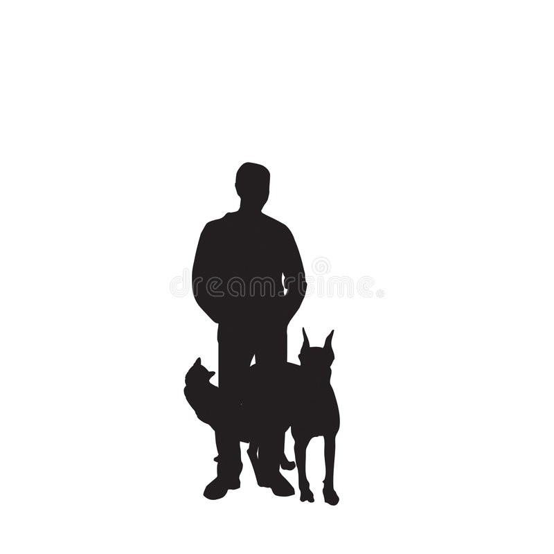 Download Vector Silhouette Man And Pets Stock Vector - Image: 7084609