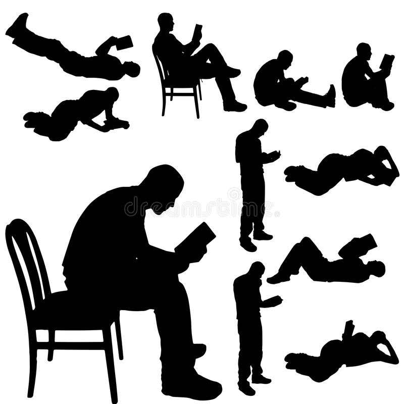 Vector silhouette of a man. Vector silhouette of a man who is reading a book royalty free illustration