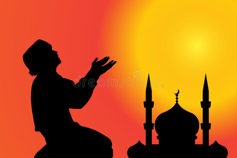 Vector silhouette of a Muslim. royalty free illustration