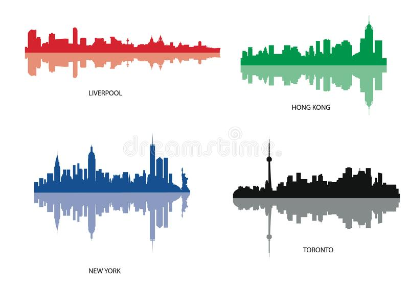 Silhouette of Various City. Vector Silhouette of New York, Liverpool, Hong Kong e Toronto vector illustration