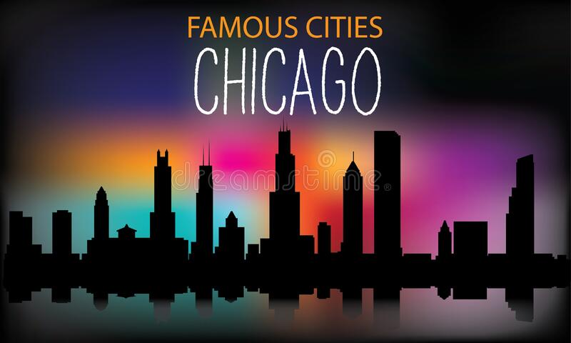 Vector silhouette of the night city on a background of multi-colored sky. Chicago . Vector illustration royalty free illustration