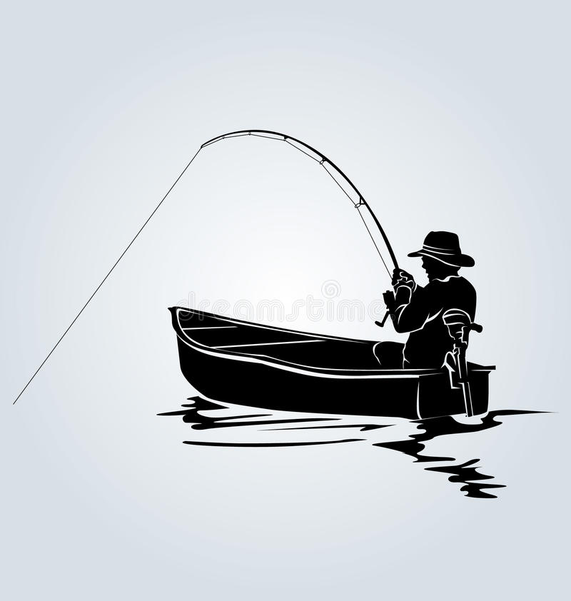 Free Vector Silhouette Of A Fisherman In A Boat Stock Image - 73729271