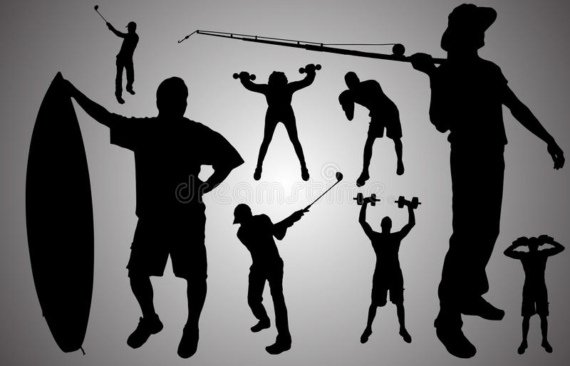 Vector silhouette of people. Vector silhouette of people in various sports vector illustration