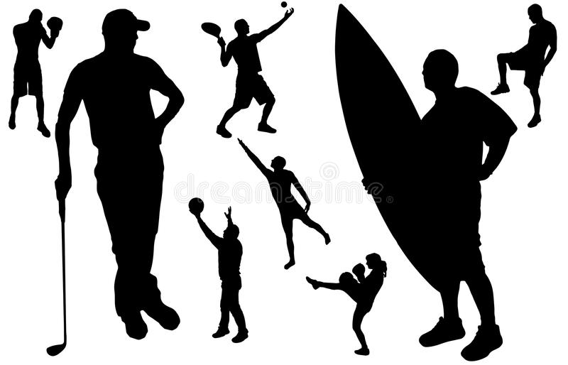 Vector silhouette of people. Vector silhouette of people in various sports stock illustration