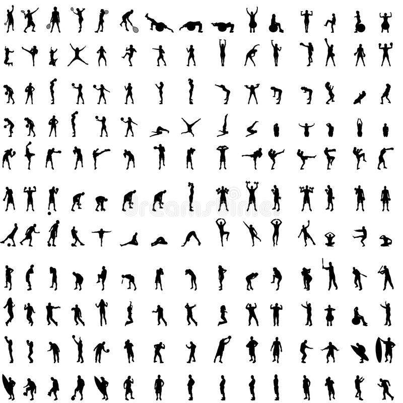 Vector silhouette of people. Vector silhouette of people who exercise on white background stock illustration