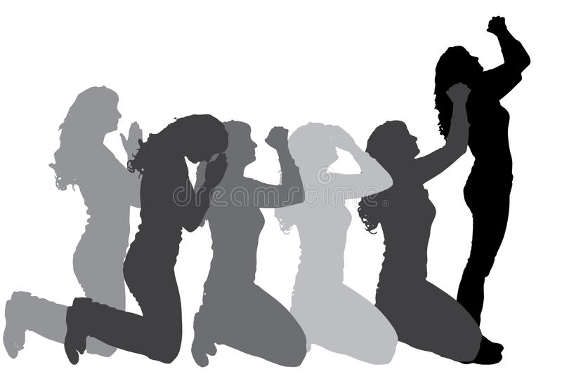 Vector silhouette of people who pray. vector illustration