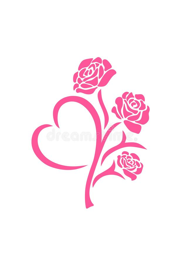 Vector silhouette of a pink roses flower in tattoo style with heart-shaped leaf isolated on white background. vector illustration