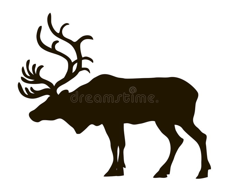 Vector silhouette of a reindeer vector illustration