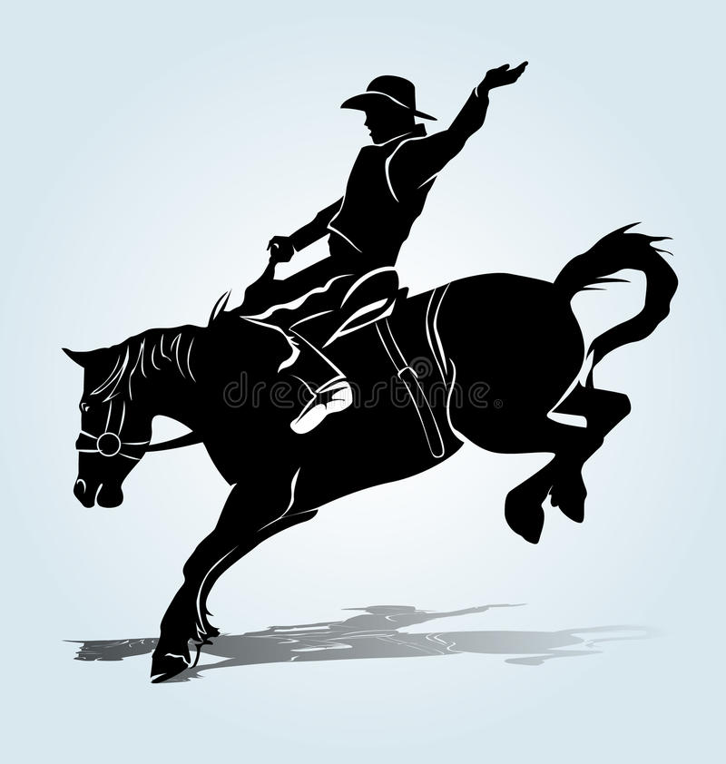 Vector silhouette of a rodeo rider stock images