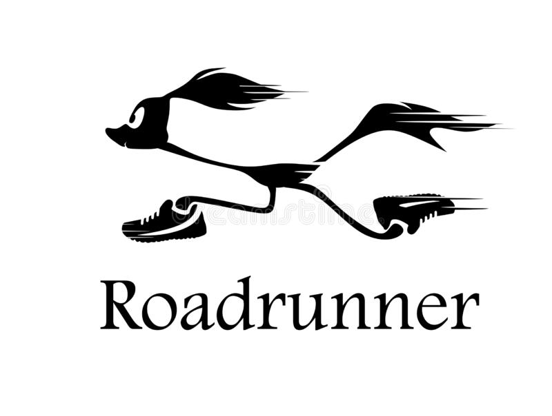 Roadrunner. Vector silhouette of a running road runner in sneakers.Logo for your company. Cartoon running Roadrunner vector illustration