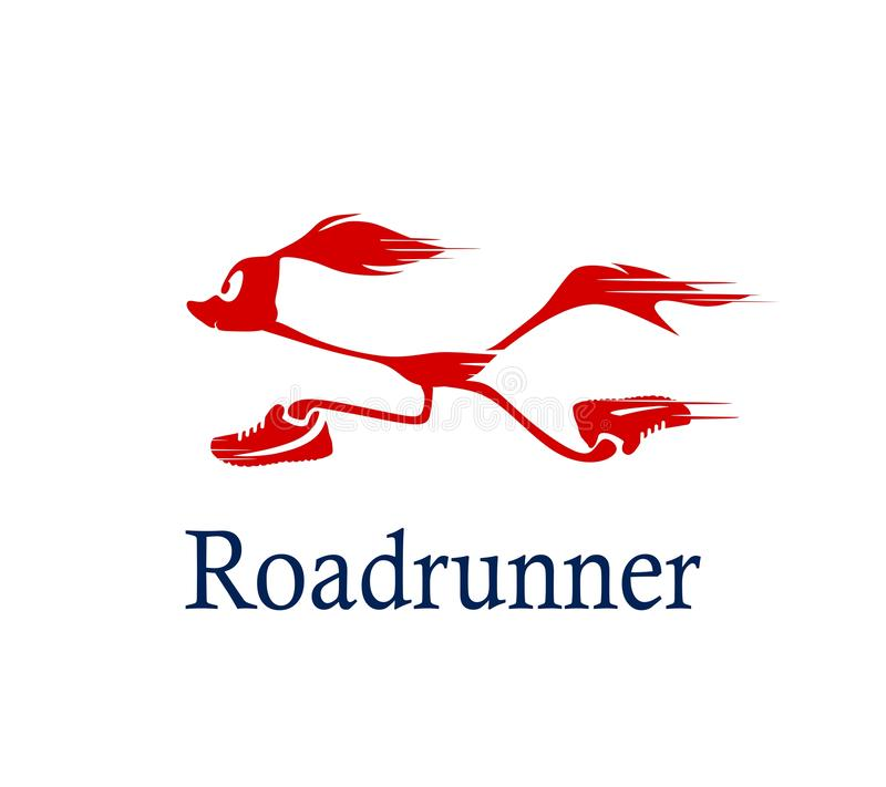 Roadrunner logo. Vector silhouette of a running road runner in sneakers.Logo for your company. Cartoon running Roadrunner stock illustration