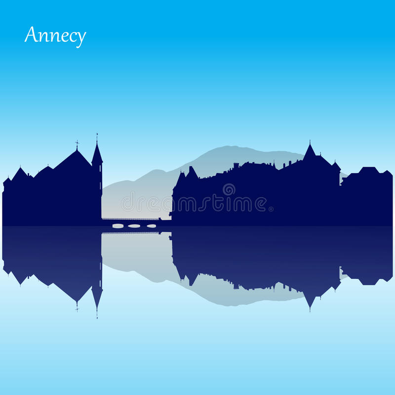 Vector silhouette skyline of Annecy - France royalty free illustration