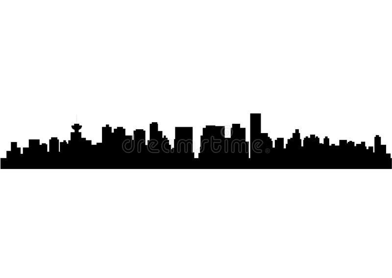 Silhouette of Skyline Vancouver City stock illustration