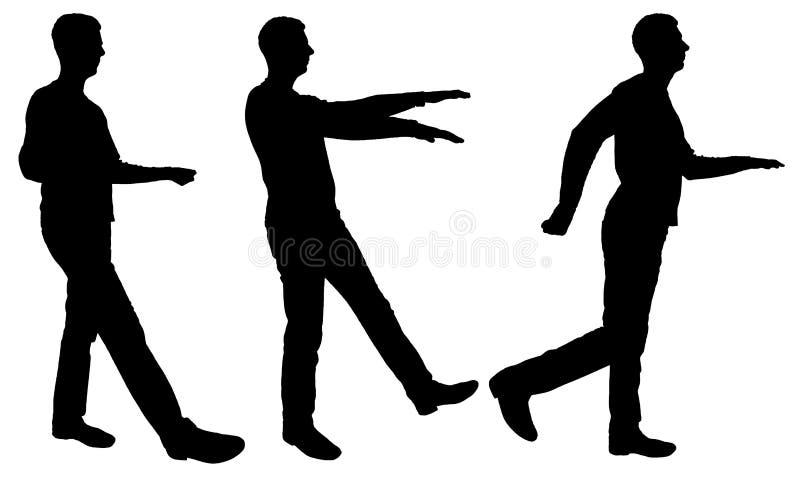 Vector silhouette of three walking men holding balance vector illustration