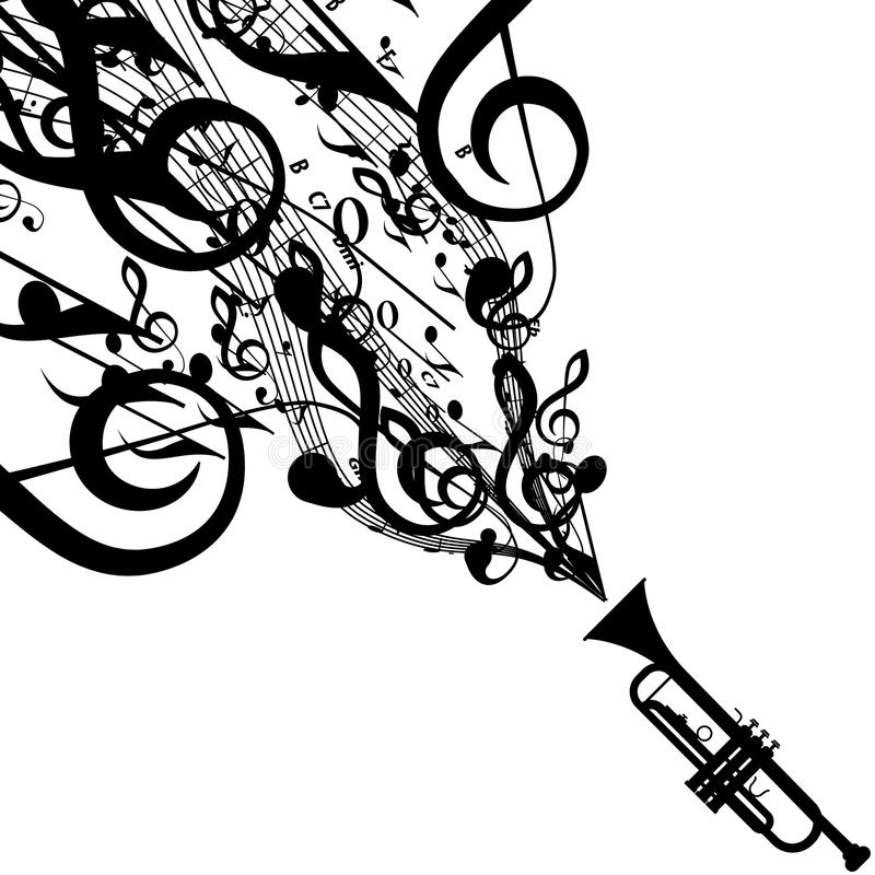 Vector Silhouette of Trumpet with Musical Symbols. Includes EPS 10 file and a large more than 15 MP jpg file stock illustration