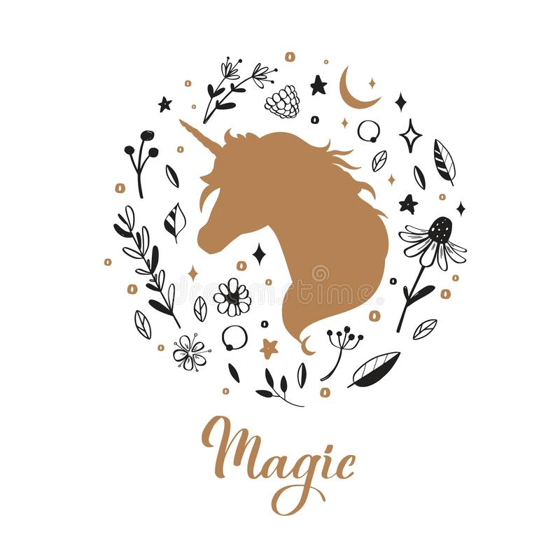 Vector Silhouette of Unicorn in the flower, rustic pattern. Fairy tale forest card, poster, background, tattoo royalty free illustration