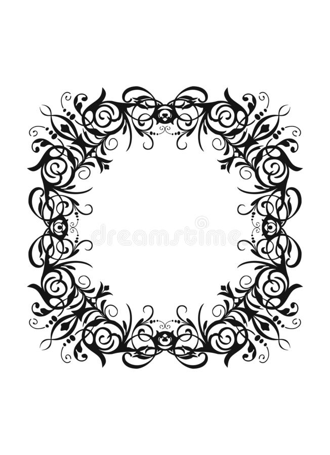 Vector silhouette vintage black round frame with retro flourish baroque ornament stock illustration