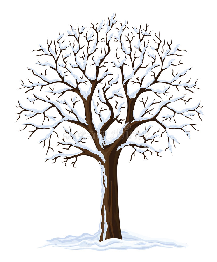 Vector silhouette winter tree stock photo