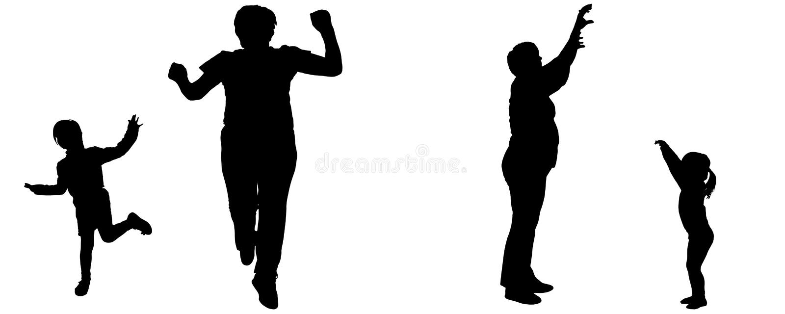 Vector silhouette of woman and child. Vector silhouette of woman and child who dance royalty free illustration