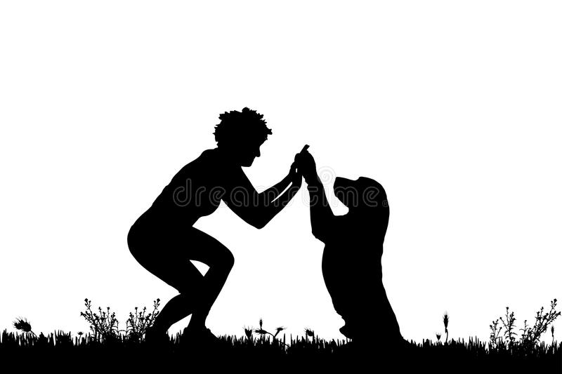 Vector silhouette of a woman with a dog. Vector silhouette of a woman with a dog on a meadow royalty free illustration