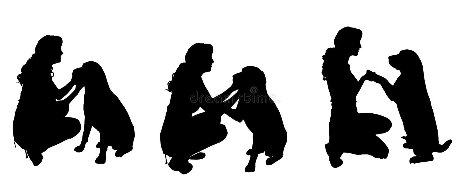 Vector silhouette of a woman with a dog. stock illustration