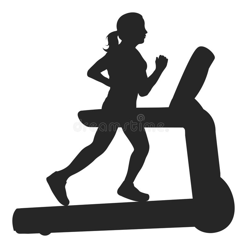 Vector Silhouette Of A Woman Running On A Treadmill vector illustration