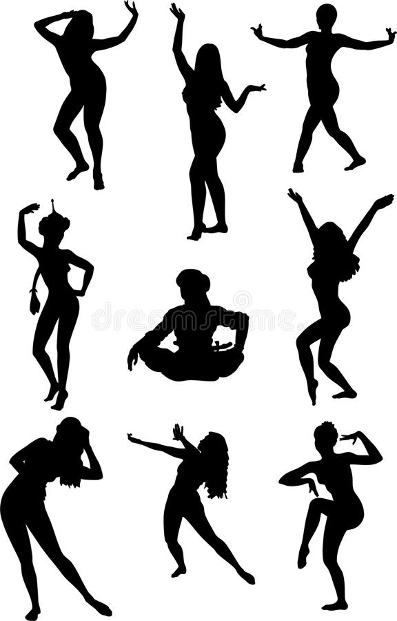 Vector silhouettes. Girls dancing belly dance on a white background stock illustration
