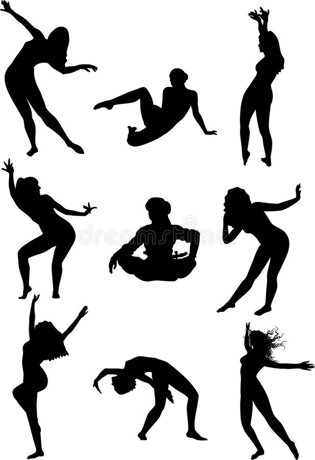 Vector silhouettes. Girls dancing belly dance on a white background vector illustration
